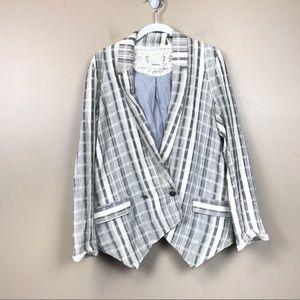 Anthropologie elevenses striped plaid blazer small